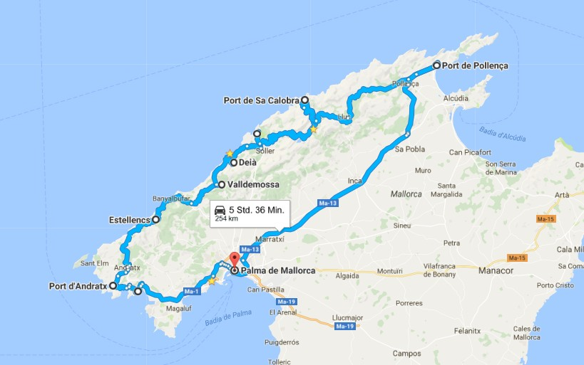 Mallorca Roadtrip Westküste Route