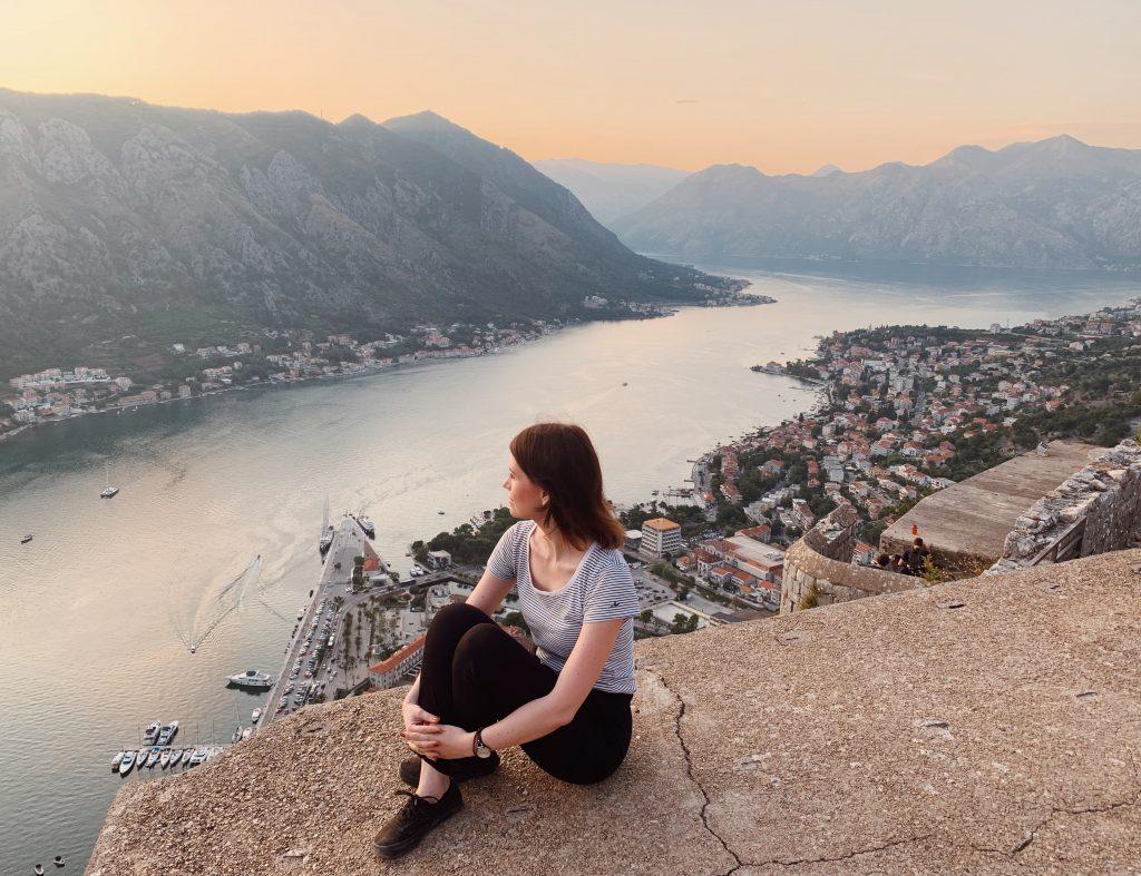 Sonnenuntergang Bucht von Kotor Montenegro